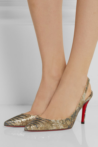 christian louboutin man shoes - Christian Louboutin | Apostrophy 85 printed glitter-finished ...