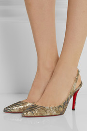 Christian Louboutin Apostrophy 85 printed glitter-finished leather pumps