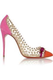 Christian Louboutin Bille Et Boule 100 studded PVC and suede pumps