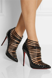 Christian Louboutin Gortik 120 python and patent-leather ankle boots
