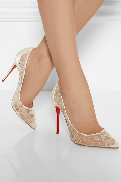 replica slippers - Christian Louboutin | Follies 100 lace and satin pumps | NET-A ...