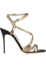 Audrey 100 metallic coated suede sandals