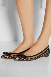 Christian Louboutin Suspenodo flocked glitter-finished flats