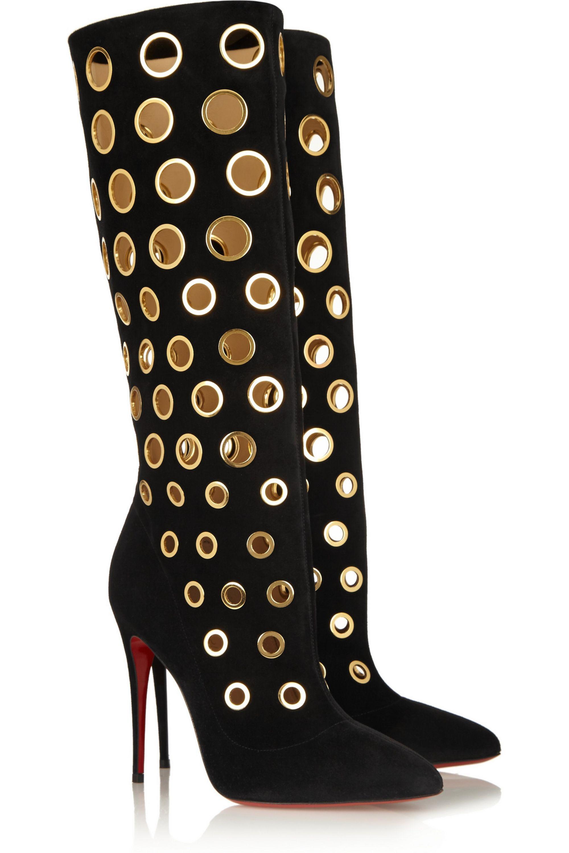 Christian Louboutin 100 eyelet-embellished suede knee boots