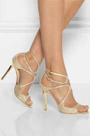 Jimmy Choo Lang textured-lamé sandals