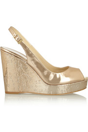 Prova mirrored-leather wedge slingbacks