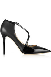 Jimmy Choo Mallow patent-trimmed leather pumps