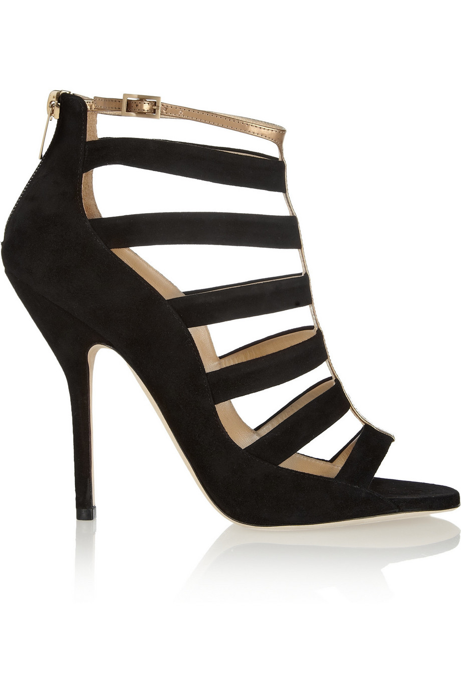 31ee3e0c324b Jimmy Choo Fathom cutout suede and metallic leather sandals at  Net-A-Porter.com