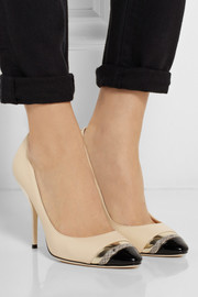 Laguna elaphe-trimmed leather pumps