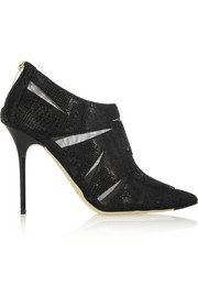 Jimmy Choo Wister glossed snake-effect suede and mesh ankle boots