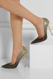 Jimmy Choo Anouk dégradé glitter-finished leather pumps