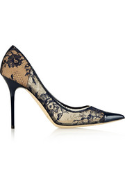 Jimmy Choo Amika leather-trimmed lace pumps