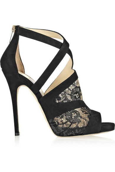 53ebe6e475d7 Jimmy Choo. Vantage suede and lace sandals