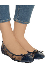 Jimmy Choo Waltz lace and patent-leather ballet flats