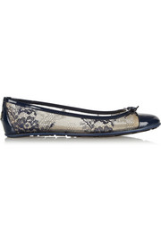 Waltz lace and patent-leather ballet flats