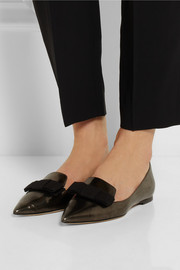 Jimmy Choo Gala mirrored-leather point-toe flats