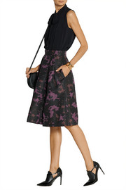 Burberry London Printed silk-faille skirt