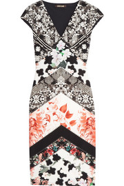 Roberto Cavalli Printed stretch-satin jersey mini dress
