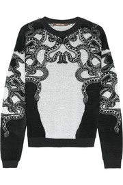 Roberto Cavalli Lace-intarsia fleece and knitted sweater