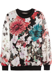 Floral-print silk-chiffon and jersey sweater