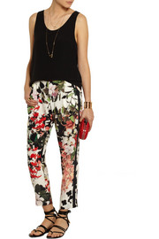 Roberto Cavalli Eden floral-print silk tapered pants