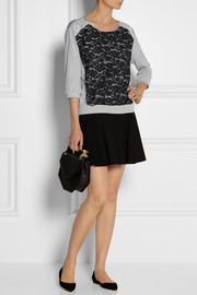 Nina Ricci Silk and lace-trimmed cotton top