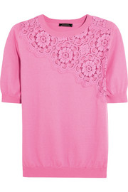Nina Ricci Lace-paneled cotton and cashmere-blend top