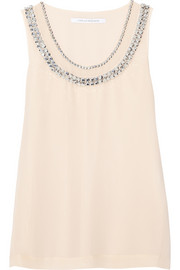 Ade crystal-embellished silk-chiffon top