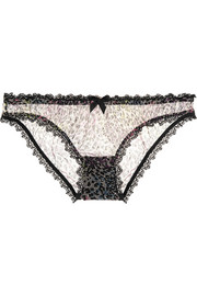 Rubi animal-print stretch-tulle briefs