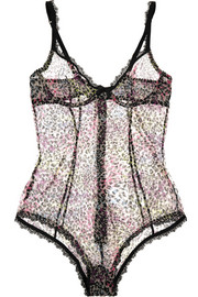 L'Agent by Agent Provocateur Rubi animal-print stretch-tulle bodysuit
