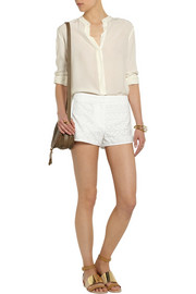 Theory Nandrea broderie anglaise cotton shorts