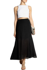 Theory Swind stretch-silk chiffon midi skirt