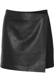 Theory Stilla leather and stretch-jersey wrap mini skirt