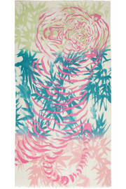 Horiyoshi the Third Bamboo Tiger printed silk and cashmere-blend scarf