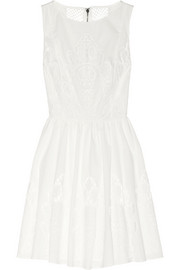 Alice + Olivia Vinny embroidered cotton-poplin mini dress