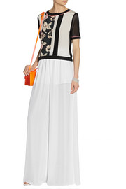 Alice + Olivia High-waisted chiffon wide-leg pants