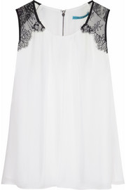 Alice + Olivia Lorretta lace-trimmed silk top