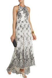 Alice + Olivia Isla embroidered tulle maxi dress