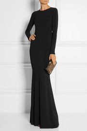 Alice + Olivia Air mesh-paneled stretch-crepe gown