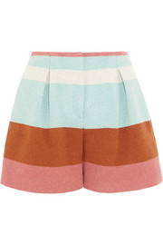 Striped woven felt shorts