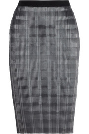 Alexander Wang Pinstriped plissé-satin pencil skirt