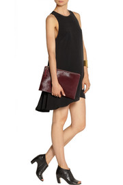 T by Alexander Wang Leather-trimmed double-layered crepe mini dress