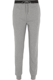 T by Alexander Wang Leather-trimmed cotton-blend jersey track pants