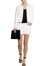 T by Alexander Wang Frayed cotton-burlap jacket