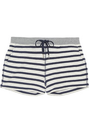 T by Alexander Wang Striped cotton-terry shorts