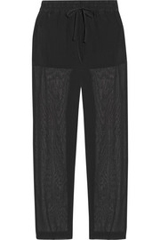 Stretch-silk crepe de chine and georgette pants
