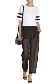 DKNY Stretch-silk crepe de chine and georgette pants