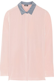 DKNY Stretch-silk crepe de chine shirt