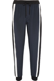 Striped stretch-silk track pants