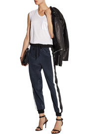 DKNY Striped stretch-silk track pants